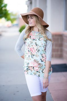 Mint Floral Baseball Top for Women| My Sister's Closet