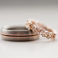 Wedding bands in rose gold. We love the subtle rose gold in 'his' ring too.  Inspired By You, Created By Us. #BlackKeyDiamonds www.blackkeydiamonds.com