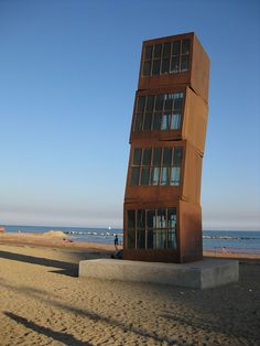 Public Art On The Barcelona Beach. The beach tower is pretty cool to see. #monogramsvacation