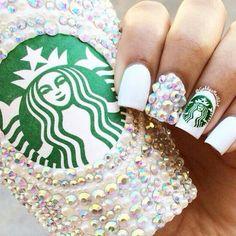 Starbucks Nails #nails #inspiration #nailart #Whitemani