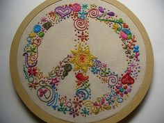 Beautiful embroidery of a peace sign - I wish I'd thought of this!