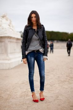 Géraldine Saglio and Balenciaga Leather Biker Jacket Photograph