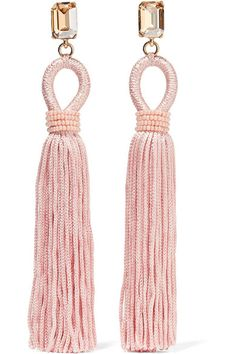 Oscar de la Renta | Tasseled silk, gold-plated and Swarovski crystal clip earrings | NET-A-PORTER.COM