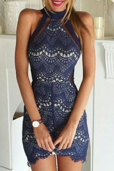 Fashion Solid Color High-Necked Lace Dress