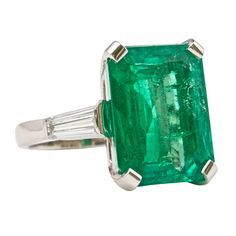 Colombian Emerald Platinum Ring | From a unique collection of vintage fashion rings at http://www.1stdibs.com/jewelry/rings/fashion-rings/