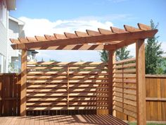 Corner pergola with shade feature. Next project along with a pea gravel patio ar. Corner pergola w Cedar Pergola, Deck With Pergola, Wooden Pergola, Outdoor Pergola, Backyard Pergola, Pergola Shade, Pergola Plans, Backyard Landscaping, Backyard Ideas