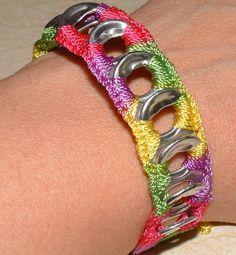 ReCycladelic Pop Top Bracelet Bubble Gum, After the Rain, Caribbean Blue OR Pinwheel Bright Pink Yellow Orange Green Purple Crochet tie-on