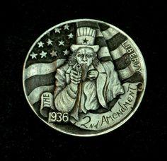 """Hobo Nickel  """"The 2nd Amendment"""" Uncle Sam Coin Howard Thomas"""