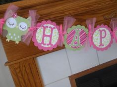 Owl Birthday Banner Happy Birthday Banner You Choose by PartysOn, $26.00