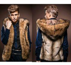 Winter style fur vest men Luxury rabbit hair faux fur coat male Fashion fur collar mens leather overcoat outdoor leisure vest