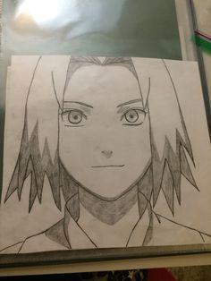 Sakura from Naruto Pokemon Sketch, Naruto Sketch, Naruto Art, Anime Sketch, Anime Naruto, Graffiti Drawing, Cool Art Drawings, Easy Drawings, Drawing Sketches