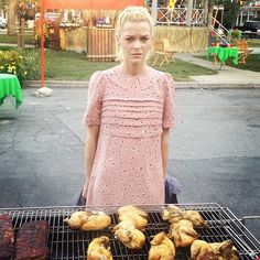 Jaime King's Hart of Dixie character, Lemon Breeland, was not thrilled to be barbecuing chicken . . . even in Marc Jacobs.