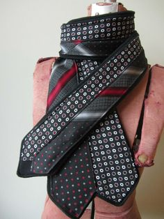 Upcycled Clothing / Repurposed Neckties with fleece by GarageCoutureClothes
