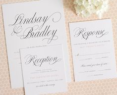 Classic Wedding Invitations with Script - Perfect for a garden wedding - Garden Script Wedding Invitations