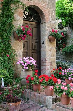 Flowered Montechiello Entry - Tuscany, Italy