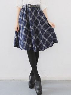 Shop Navy Plaid Belt High Waist Skater Midi Skirt from choies.com .Free shipping Worldwide.$27.99