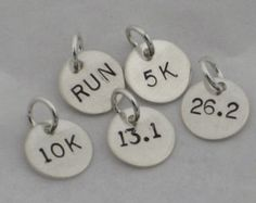 ONE (1) Sterling Silver RUN, 5k, 10k, 13.1, 26.2 or Xc Hand Stamped Charm - Choose your DISTANCE One Charm Only - Add On Running Charm
