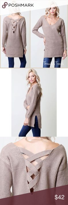 🆕🌸 Lace Back Sweater Taupe Lace Back long sweater with side slits. The perfect sweater for pair with leggings. Made of Acrylic. Size S, M, L Threads & Trends Sweaters
