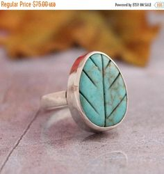 Turquoise Ring  Leaf ring  Artisan Ring  Green ring  by Studio1980