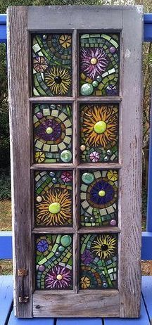 Stained glass mosaic window - would love to do this with sea glass ... how beautiful it would be.