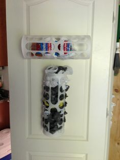 Use an Ikea plastic bag holder for loaves of bread. Turn horizontal and attach to pantry door. No more smooshed bread.