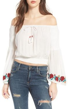 Women's Band Of Gypsies Embroidered Off-The-Shoulder Crop Top