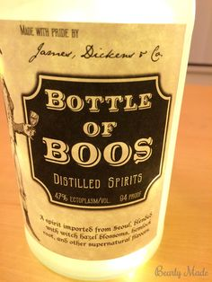 """This post is about a """"Bottle of Boos"""" I created for Halloween. This post covers how to drill the hole, frost the glass, and install the lights. Potion Bottle, Bottle Lights, Baking Ingredients, Halloween Crafts, Cookie Dough, Bottles, Diy, Bricolage, Do It Yourself"""