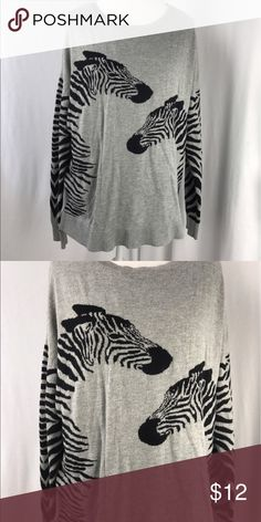 Zebra sleeve apt 9 sweater Perfectly grey with zebra sleeves. Guys zebra sleeves! This is as cute as it gets! Apt. 9 Sweaters Cardigans