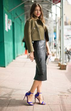 try this look with my midi leather skirt, cobalt booties and army green leather jacket