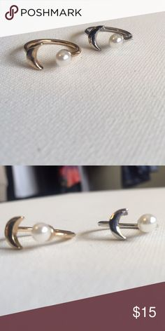 NWT 2 pcs Pearl and Moon Ring Set  Perfect condition.  New in packaging. You get 1 Silver and 1 Gold. They are imitation gold and silver and Hypoallergenic rings. Size 6  ⚖ Reasonable Offers Considered through offer button.  ⚜Top Seller. No Trades.   Quick Shipping.        Bundle for Discount. Jewelry Rings