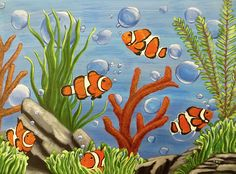 Clowning around. Acrylic painting on canvas. #clownfish, #fish, #marinelife…