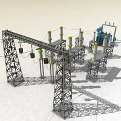 model: Substation is a high quality models to add more details and realism to your exterior rendering projects. Detailed enough for close-up renders. Comes with detailed . Electric Power Distribution, Electrical Substation, Transmission Tower, Exterior Rendering, Energy Projects, Illusion Art, Electrical Wiring, Optical Illusions, All The Colors