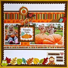 This pumpkin patch layout by Jodi Wilton used the Happy Harvest collection by Doodlebug.