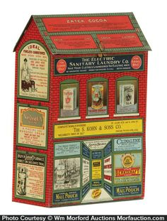 early figural tin litho store shaped display tin covered w/ incredible multi-colors