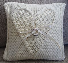 Ravelry: Ring Bearer Pillow pattern by Debbie Trainor Ring Bearer Pillows, Pattern Library, Boot Cuffs, Wedding Gifts, Wedding Ideas, Knitting Patterns, Pillow Covers, Ravelry, Reusable Tote Bags