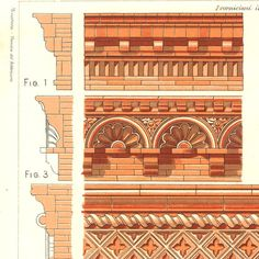 Vintage Ornaments Print Terracota Cornices by CarambasVintage