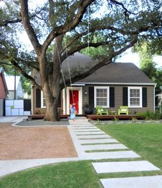 gray house red door - Google Search