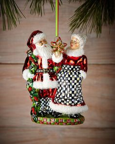 H7B9M MacKenzie-Childs Mr. and Mrs. Claus Christmas Ornament