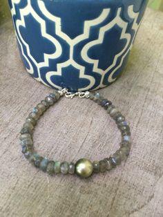 Tahitian Black Pearl Labradorite Bracelet by FlatteryDesigns