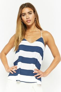 Product Name:Striped V-Neck Cami Top, Category:CLEARANCE_ZERO, Price:18
