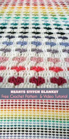 52 ideas crochet heart blanket baby afghan patterns for 2019 Crochet Afghans, Crochet Heart Blanket, Easy Crochet Stitches, Bag Crochet, Manta Crochet, Crochet Baby, Free Crochet, Baby Afghans, Crochet Blankets