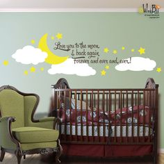 Love You to the Moon and Back - Vinyl Wall Decal Sticker Art - Mural