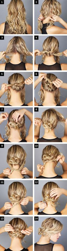 ALWAYS A FAN OF THE MESSY BUN we're especially loving this 'tie & pin' technique – check it out What you need: Only bobby pins. The how-to-do: Split your hair into four strands, first all of your hair into two, then each half into another two strands. Take the strands from the back and knot them. …