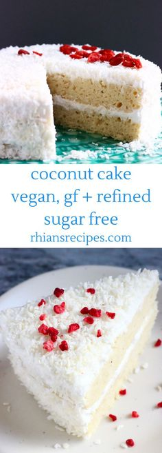 This Gluten-Free Vegan Coconut Cake is moist and fluffy, sweet and creamy and wonderfully coconutty! Also refined sugar free.