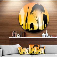 """Designart 'African Wildlife Panorama'African Metal Circle Wall Art - 23"""" x 23"""". #yellowart #wallartdecor #afflnk"""