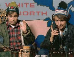 "Bob and Doug McKenzie, a. Rick Moranis and Dave Thomas, are hosers from The Great White North, introduced on the third season of the Canadian comedy sketch show SCTV. Their improvised and seriously shortened version of ""The Twelve Days of. I Am Canadian, Canadian History, Canadian Humour, Dave Thomas, Rick Moranis, Happy Canada Day, Bob, The Great White, O Canada"