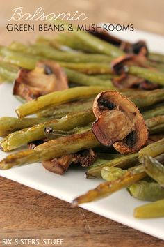 Balsamic Green Beans + Mushrooms Recipe | SixSistersStuff.com