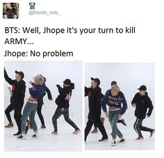 Haha it's not hard for BTS to kill ARMY, consider that we die from just their bangs to forehead Bts Memes, Funny Memes, I Need U Bts, Bts Love, Jung Hoseok, Bts Bangtan Boy, Jhope, K Pop, Pop Kpop