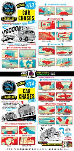 Today's tutorial for #LEARNUARY is How to THINK When You Draw CAR CHASES!  And if you want some AWESOME CHARACTER DESIGN INSPIRATION, check out THIS AMAAAAAAZING ...
