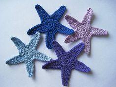 Crochet Starfish Appliques, Star Fish, Sea Stars, Stars in Purple, Lilac and Blue. $6.00, via Etsy.